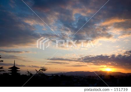 日落 夕阳 五重塔