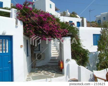 图库照片: 米科诺斯 爱琴海 白色的建筑物