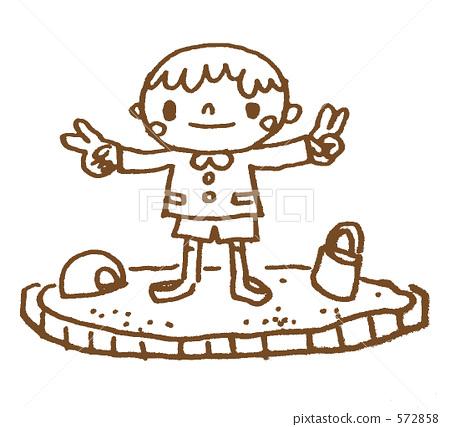 插图素材: 砂坑 小孩 孩童