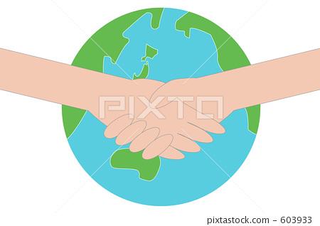图库插图: 摇动 握手 地球