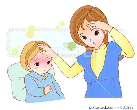 母亲俩孩子手绘头像
