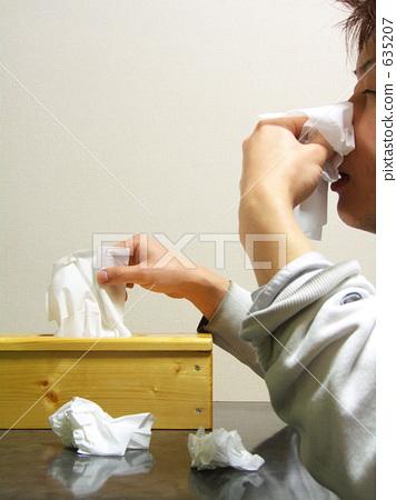 图库照片: 纸巾 组织 擤鼻涕