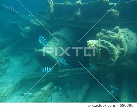 照片素材(图片): 沉船 海底的 海里