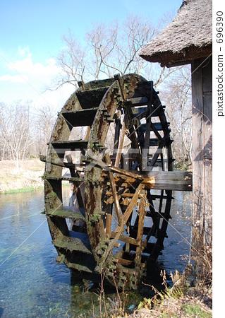 河 首页 照片 风景_自然 河_池塘 河 水车 复古 河  *pixta限定素材仅