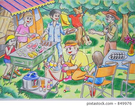 儿童烧烤简笔画