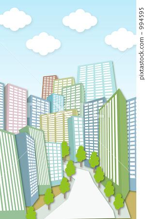 插图 设施/建筑/街道 街道 建筑群 办公楼 建筑 大楼  *pixta限定素材