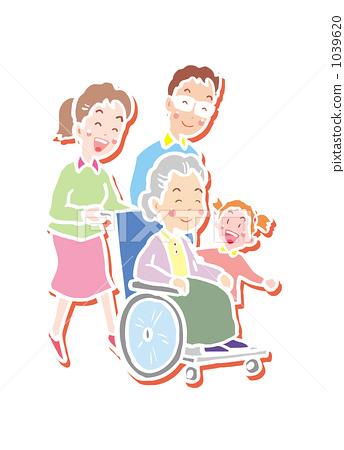 家庭 首页 插图 健康_美容 护理 轮椅 护理 家庭  *pixta限定素材仅在