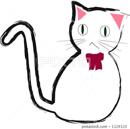 插图素材: 白猫 毛孩 猫