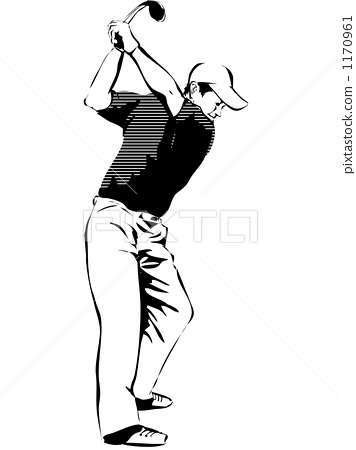 高尔夫 黑白 单色-图库插图 [1170961] - pixta