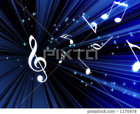 图库插图: 高音谱号 四分音符 娱乐