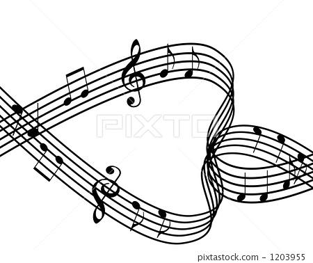 图库插图: 高音谱号 心形 四分音符
