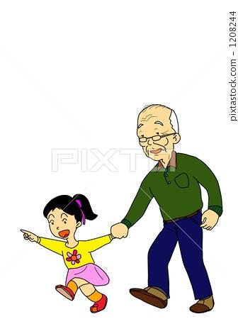 图库插图: 爷爷和孙女图片