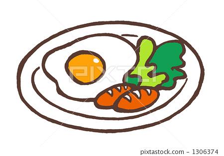 图库插图: 荷包蛋 维也纳香肠 早餐