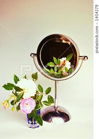 镜子 白玫瑰 雕花玻璃