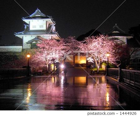 日本风景 石川 兼六园 照片 石川门在春雨中 首页 照片 日本风景 石川