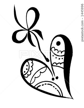手绘黑白心形卷纹psd素材设计
