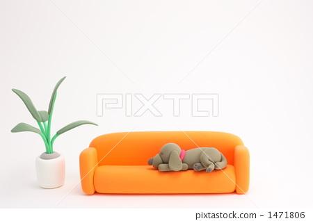 图库照片: 沙发 长沙发 粘土