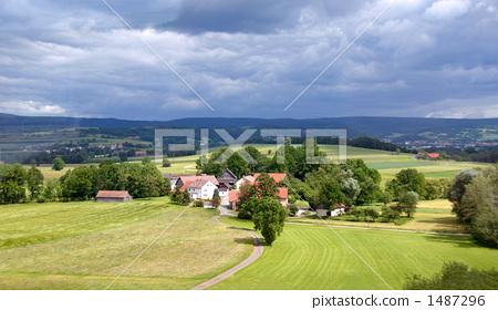 山丘 乡村的风景 房子
