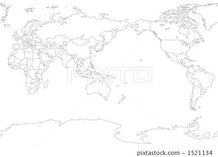 轮廓图 空白地图 地图-插图图库