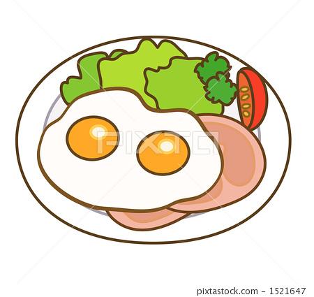 插图素材: 火腿鸡蛋 荷包蛋 两个