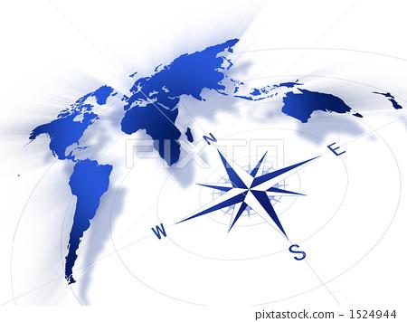 插图素材: 世界地图 罗盘 全球