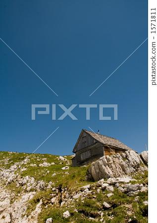 图库照片: 山野中的小木屋 山 落基山