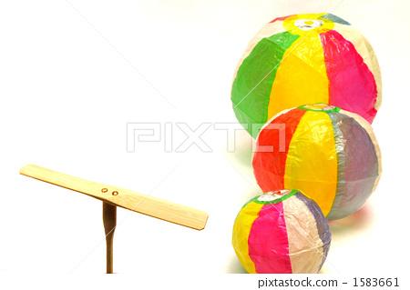 竹子蜻蜓 纸气球 白色背景