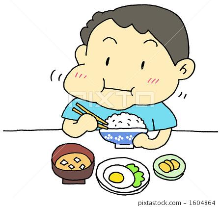 小朋友吃饭卡通图片