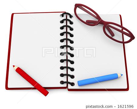 笔记本 红铅笔 眼镜