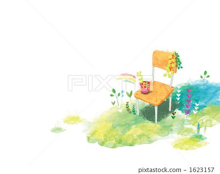 插图素材: 椅子 花朵 花