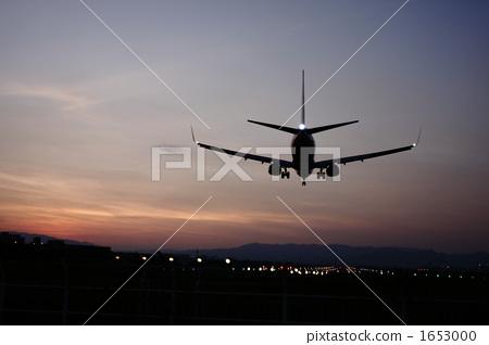 夕阳 客用飞机 喷气式飞机