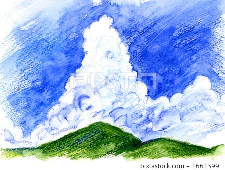 天空 云彩 积雨云 插图 积雨云 风景 水彩画 首页 插图 天空 云彩