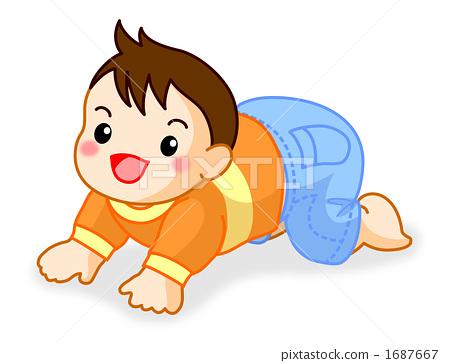 插图素材: 爬行 婴儿 宝宝