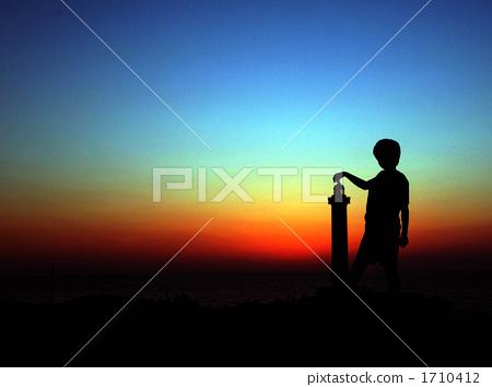 夕阳 剪影 侧影