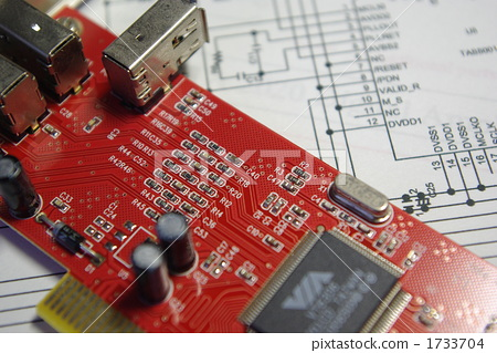 图库照片: 图解 印刷电路板 电路