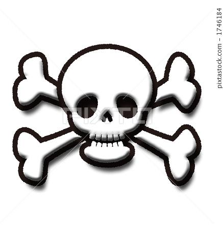 图库插图: 骨架 头骨 骷髅头和交叉骨