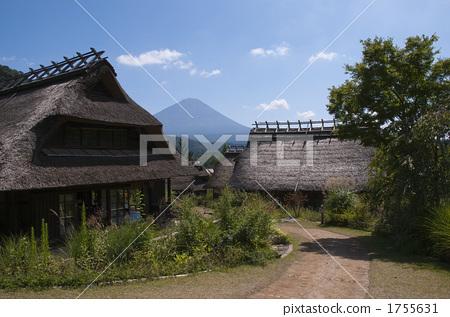 民居 茅草屋顶 景色