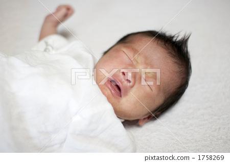 新生儿, 宝贝, 宝宝, 动物宝宝, 婴儿, 女婴, 闭着眼睛, 哭, 哭泣