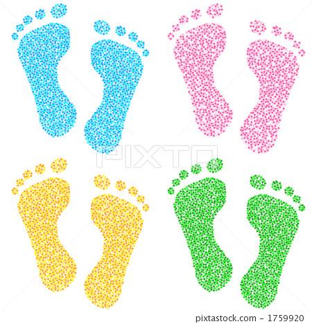 插图素材: 脚印 足迹 右腿