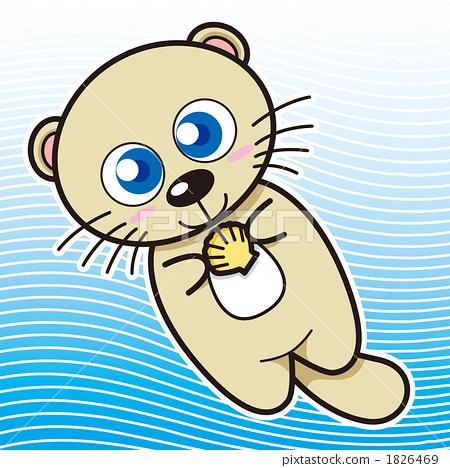 图库插图: 海獭 卡通人物 海洋动物