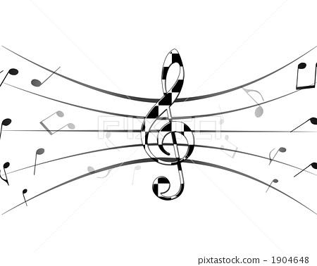高音谱号 音符-图库插图