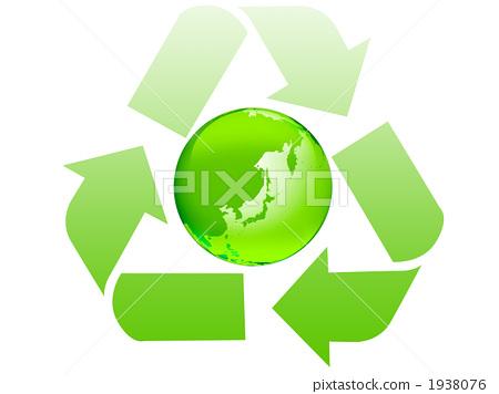 插图 日用品 园艺用品 土 再生标志 地球仪 地球  *pixta限定素材仅在