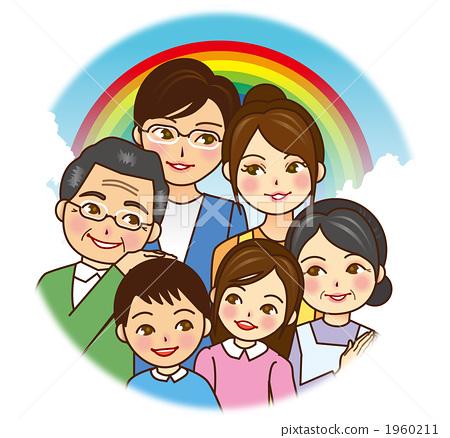 插图素材: 三代人 和谐 家庭
