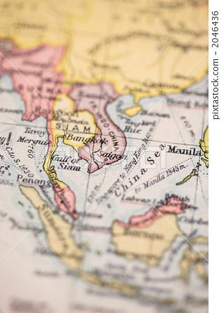 东南亚 古董地图 地图