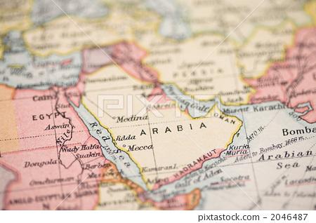 古董地图 沙特阿拉伯 阿拉伯半岛
