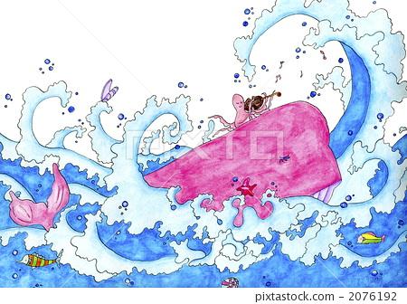 图库插图: 海洋和河流哺乳动物 鲸鱼 波浪