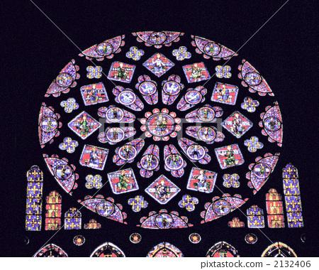 彩色玻璃 圆花窗 沙特尔大教堂
