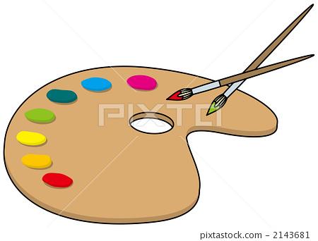 图库插图: 绘画材料 颜料 调色板