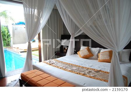 图库照片: 床 卧室 巴厘岛