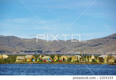 图库照片: 乌鲁斯岛 提提喀喀湖 浮岛